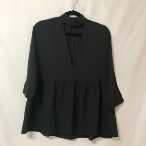 Lucca Black 3/4 Sleeve Cutout Blouse S